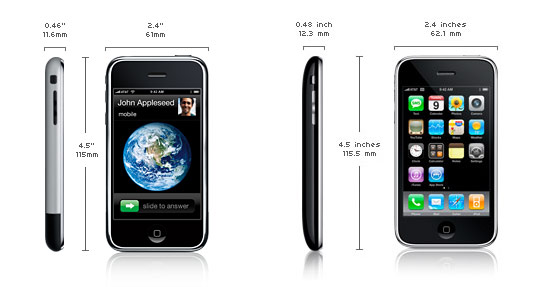 Apple iPhone 2G/3G Size and weight
